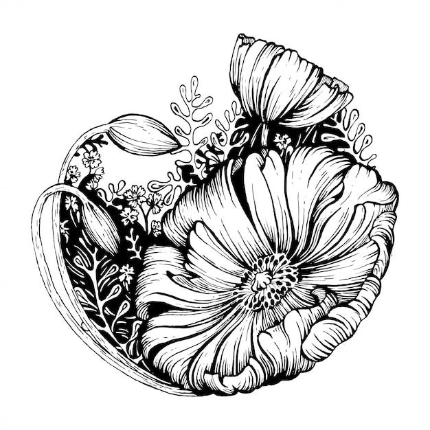 Czarno-biały kwiat. Premium Wektorów