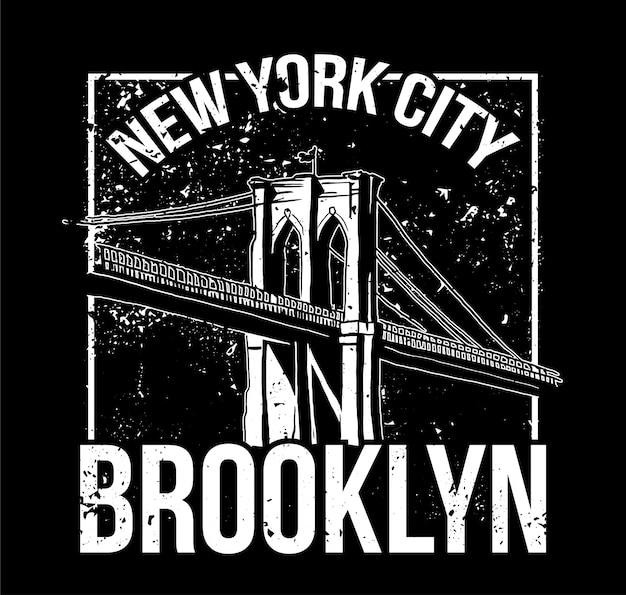 Czarno Biały Nadruk W Stylu Street Z Mostem Brooklyn Z Nowego Jorku. Do Projektowania Nadruku Na Odzieży Bluzę Bomber T Shirt, A Także Na Naklejce Plakatu Naklejki. Styl Podziemny. Premium Wektorów