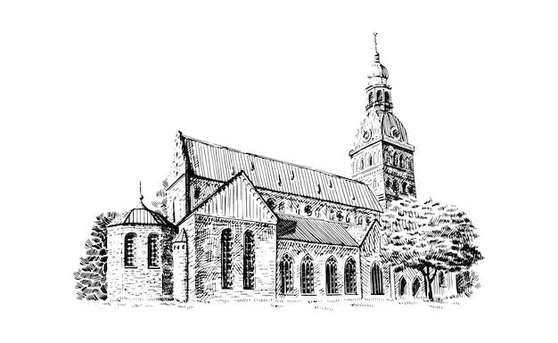 Czarno-biały Rysunek Szkic Katedry W Rydze Premium Wektorów