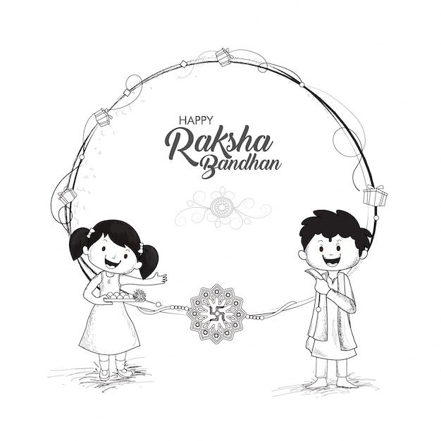 Czarno-biały Szkic Dzieci Dla Raksha Bandhan. Premium Wektorów