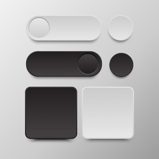 Czarno-biały Zestaw Przycisków Okrągłe I Kwadratowe Przyciski Premium Wektorów