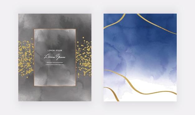 Czarno-ciemnoniebieskie Karty Akwarelowe Z Geometryczną Ramką I Złotymi Brokatowymi Liniami, Konfetti Premium Wektorów