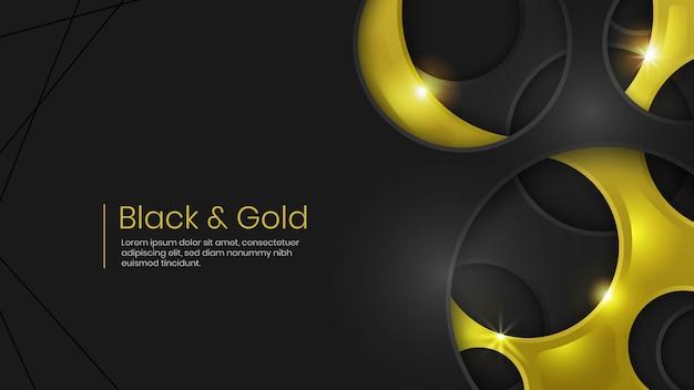 Czarno -złota Holey Streszczenie Tło Premium Wektorów