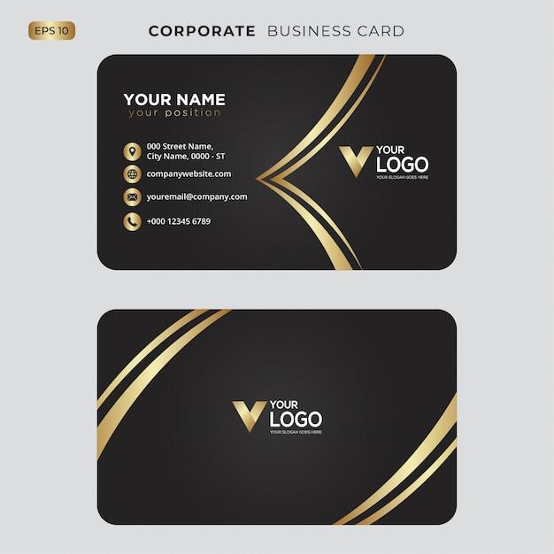 Czarno-złota wizytówka Premium Wektorów
