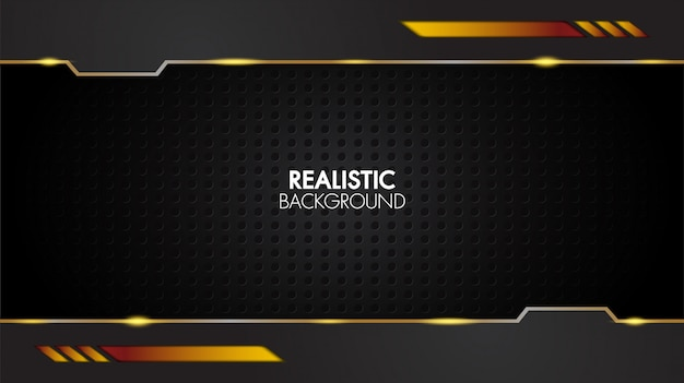 Czarno-złote tło streszczenie realistyczne warstwowe papercut mat geometryczne Premium Wektorów