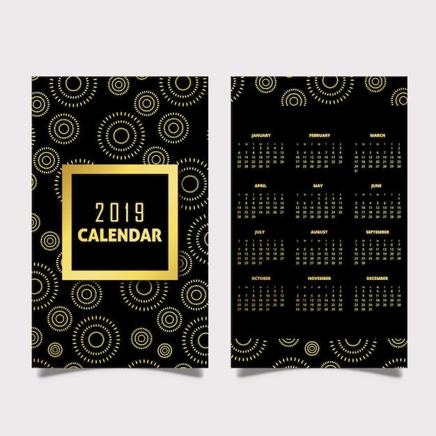 Czarno-złote Wzory Kalendarza 2019 Darmowych Wektorów