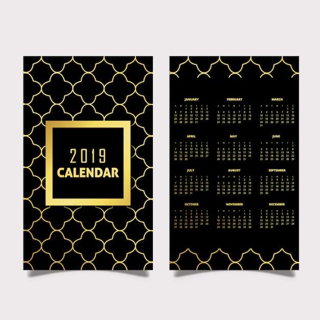 Czarno-złote Wzory Kalendarza 2019 Premium Wektorów