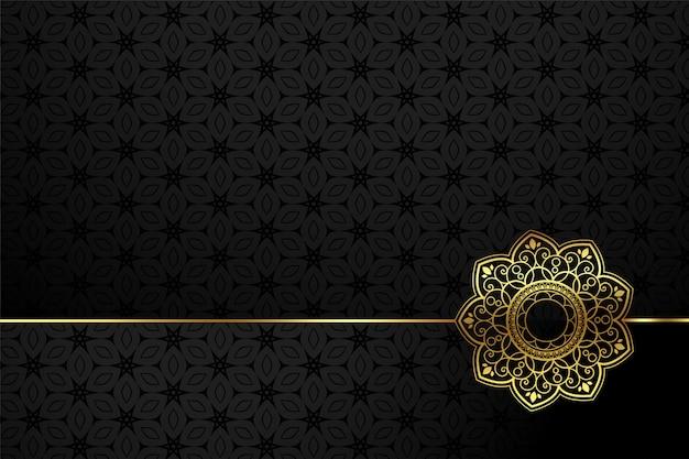 Czarno-złoty Ozdobny Kwiat Styl Tło Darmowych Wektorów