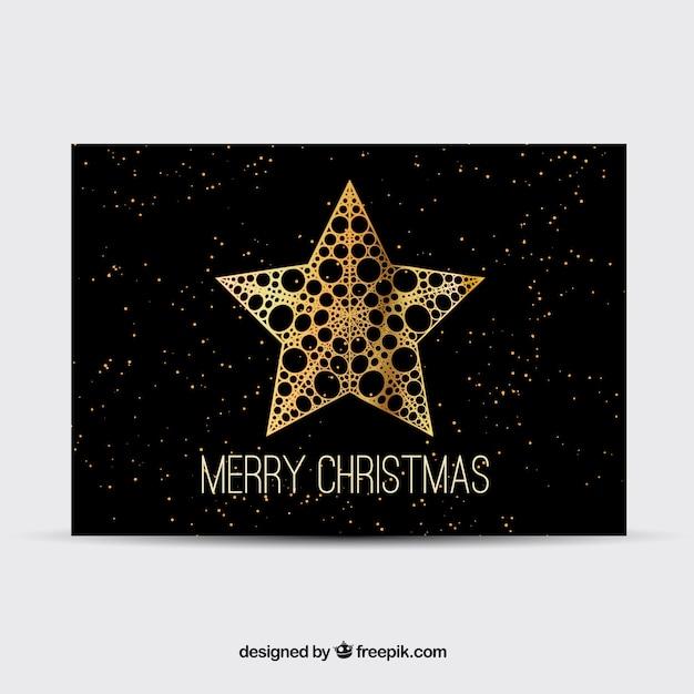 Czarny christmas karty q złotą gwiazdą Darmowych Wektorów