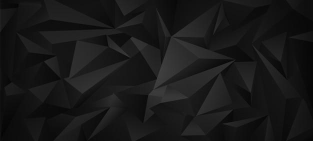 Czarny Ciemny 3d Low Poly Geometryczne Tło. Premium Wektorów