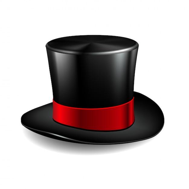 Czarny Cylinder Z Czerwoną Wstążką. Magiczny Kapelusz Na Białym Tle. Premium Wektorów