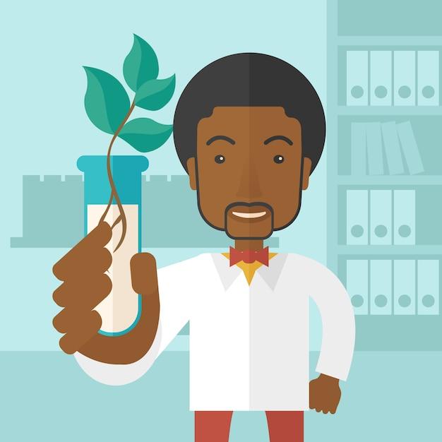 Czarny facet chemik z tubką i eko liśćmi. Premium Wektorów