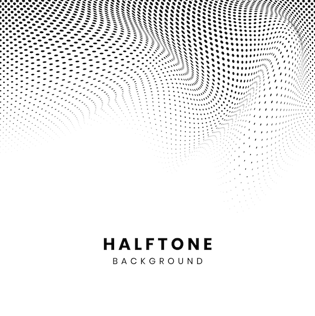 Czarny falisty halftone na białym tło wektorze Darmowych Wektorów