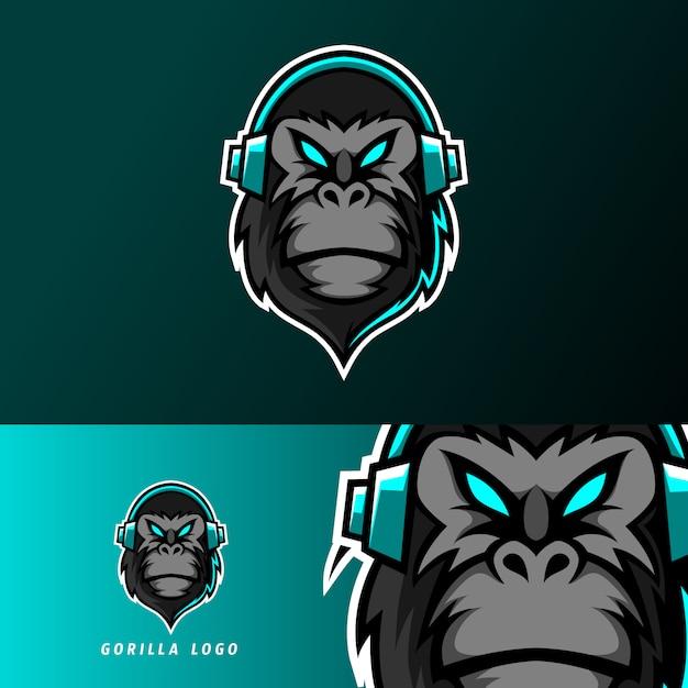 Czarny goryl małpa maskotka sport logo szablon e-sport ze słuchawkami Premium Wektorów