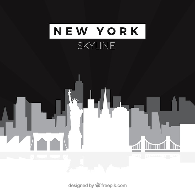 Czarny I Biały Linia Horyzontu Nowy York Darmowych Wektorów