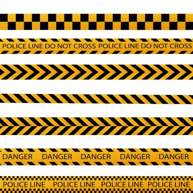 Czarny I żółty Pasek Policji Granicy, Budowa, Niebezpieczeństwo Ostrożnie Bezszwowe Taśmy Wektor Zestaw Premium Wektorów