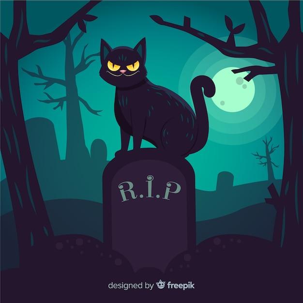 Czarny kot na ręcznie rysowane nagrobek Darmowych Wektorów
