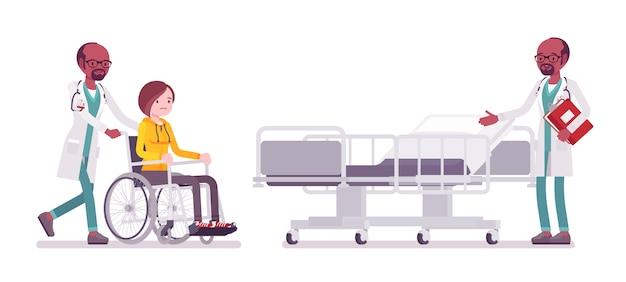 Czarny Mężczyzna Lekarz I Hospitalizowany Banner Pacjenta Premium Wektorów