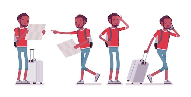 Czarny mężczyzna turysta w sytuacjach podróży Premium Wektorów