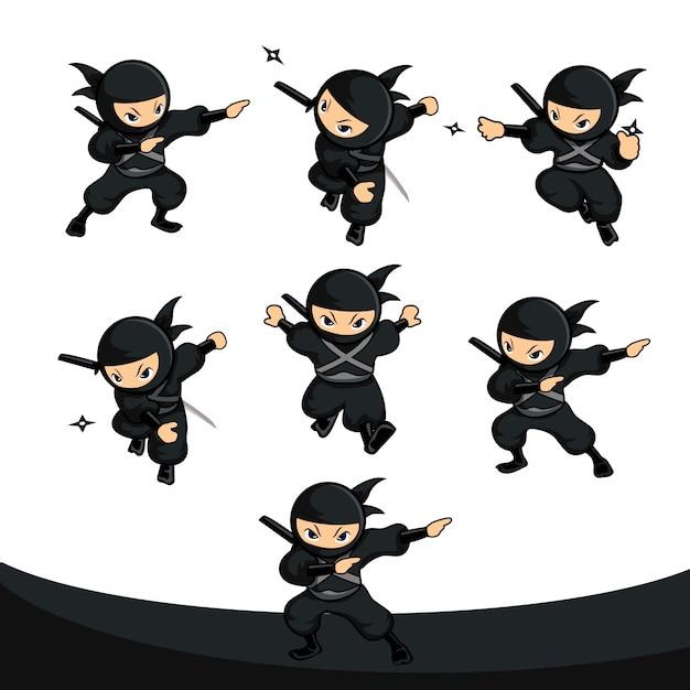 Czarny Ninja Z Kreskówek Wykorzystujący Lotkę Jako Pakiet Akcji Broni Premium Wektorów