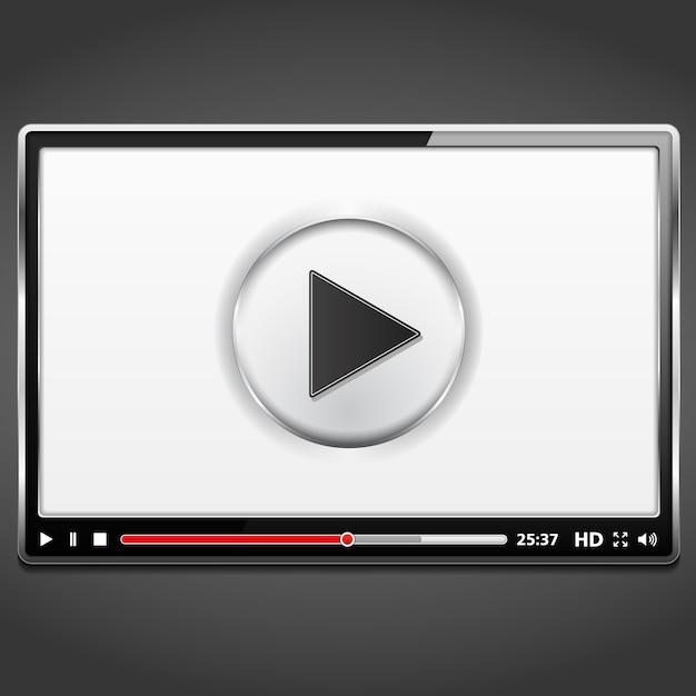 Czarny odtwarzacz wideo szablon z metalową ramą, wektor eps10 ilustracji Premium Wektorów