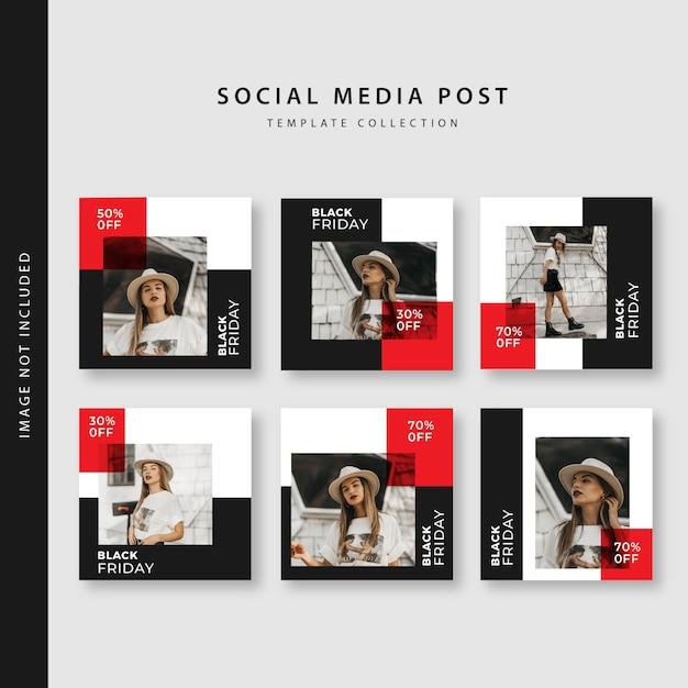 Czarny Piątek Instagram Kolekcja Szablonów Post Premium Wektorów
