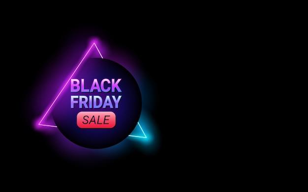 Czarny Piątek Koło Sprzedaży Tag W Neonowym Kolorze Tła Premium Wektorów