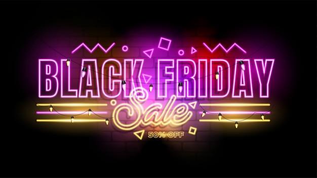 Czarny piątek neon promocja tła Premium Wektorów