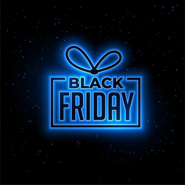 Czarny piątek niebieski neon prezent tło Darmowych Wektorów