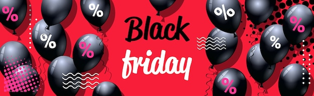 Czarny Piątek Oferta Specjalna Sprzedaż Plakat Z Balonów Na Zakupy Ulotka Na Zakupy Promocja Wakacyjna Gorąca Cena Zniżki Koncepcja Pozioma Wektorowa Ilustracja Premium Wektorów