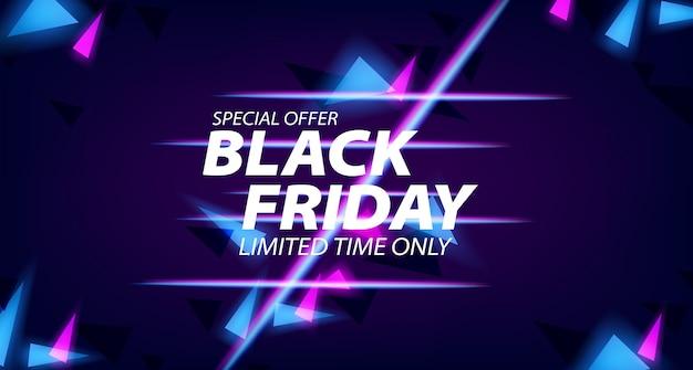 Czarny Piątek Oferta Sprzedaży Szablon Transparent Ze świecącą Lampą Neonową Premium Wektorów