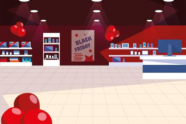 Czarny Piątek Promocyjny Sprzedaż Zakupy Banner Z Produktami I Zniżkami Premium Wektorów