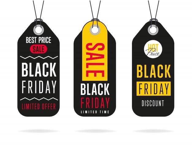 Czarny piątek sprzedaż naklejki wektor na białym tle Premium Wektorów