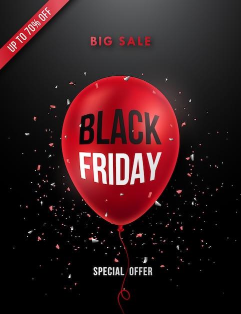 Czarny Piątek Sprzedaż Plakat Z Realistycznym Czerwonym Balonem. Premium Wektorów
