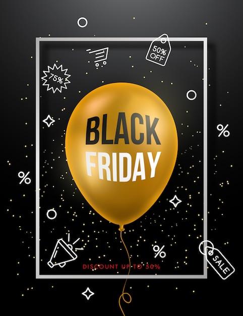 Czarny Piątek Sprzedaż Plakat Ze Złotym Balonem. Premium Wektorów