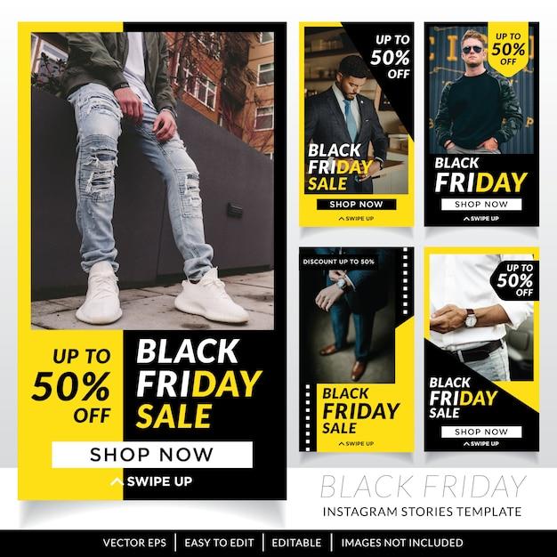 Czarny Piątek Sprzedaż Szablon Historie Mediów Społecznościowych Premium Wektorów