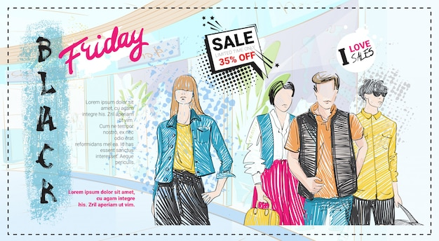 Czarny piątek sprzedaż szablon z ręcznie rysowane modelki Premium Wektorów