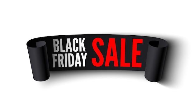 Czarny Piątek Sprzedaż Transparent. Czarna Wstążka Na Białym Tle. Premium Wektorów