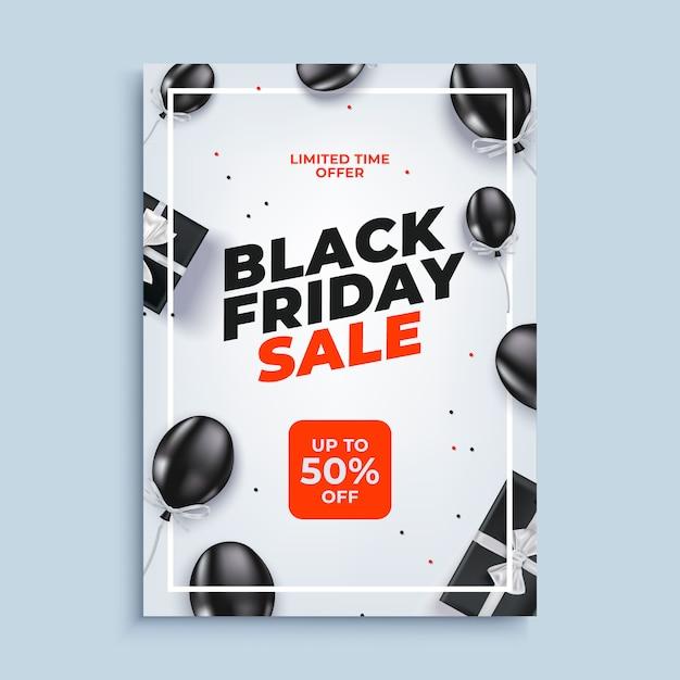 Czarny piątek sprzedaż transparent tło z balonów plakat Premium Wektorów