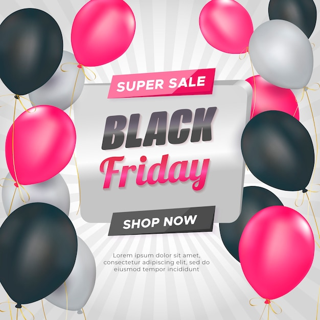 Czarny piątek sprzedaż transparent z balonami Darmowych Wektorów