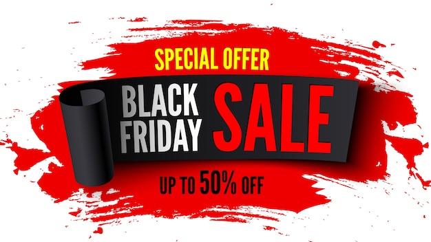 Czarny Piątek Sprzedaż Transparent Z Czarną Wstążką I Czerwonymi Pociągnięciami Pędzla Premium Wektorów