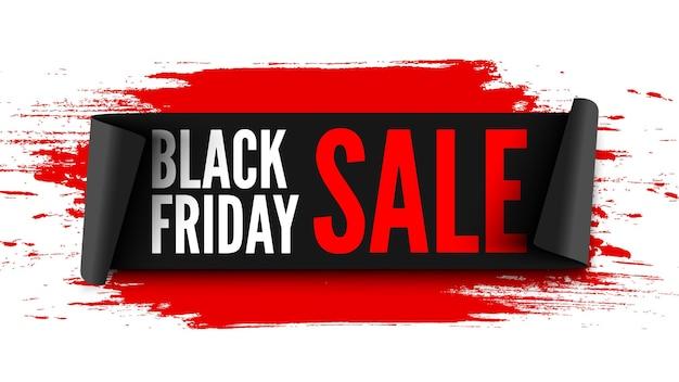 Czarny Piątek Sprzedaż Transparent Z Czarną Wstążką I Czerwonymi Pociągnięciami Pędzla. Premium Wektorów
