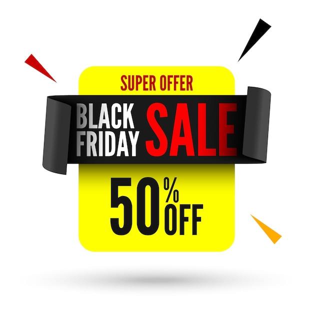 Czarny Piątek Sprzedaż Transparent Z Czarną Wstążką. Premium Wektorów