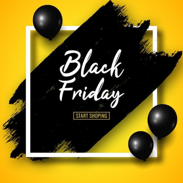 Czarny Piątek Sprzedaż Transparent Z Czarnymi Pociągnięciami Pędzla, Czarnymi Balonami I Białą Kwadratową Ramką Na żółto. Premium Wektorów