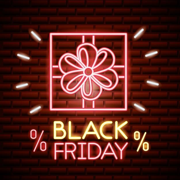Czarny Piątek Sprzedaż W Neonowych Sklepach Darmowych Wektorów