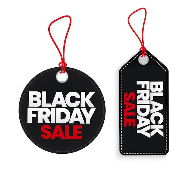 Czarny Piątek Sprzedaż Zestaw Szablonów Etykiet Sprzedaży. Premium Wektorów