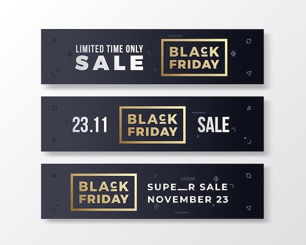 Czarny Piątek Stylowe Banery Premium Zestaw. Koncepcja Nowoczesnej Typografii. Darmowych Wektorów