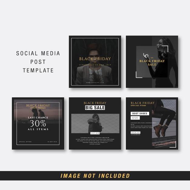Czarny piątek szablon mediów społecznościowych Premium Wektorów