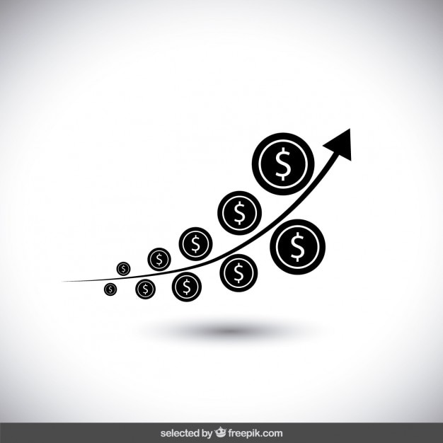 Czarny Pieniądze Wykres Wzrostu Darmowych Wektorów