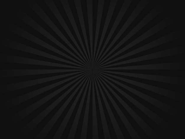 Czarny retro sunbeams tło Premium Wektorów